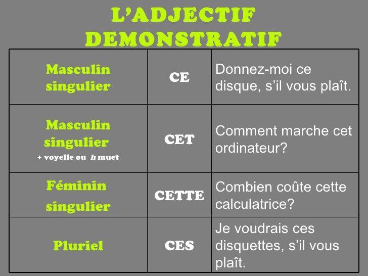 adjectifs démonstratifs: