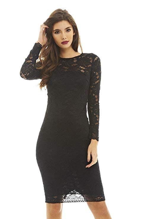 1c724d363c3b21 AX Paris Women's Bodycon Lace Midi Dress(Black, Size:4) | Best ...