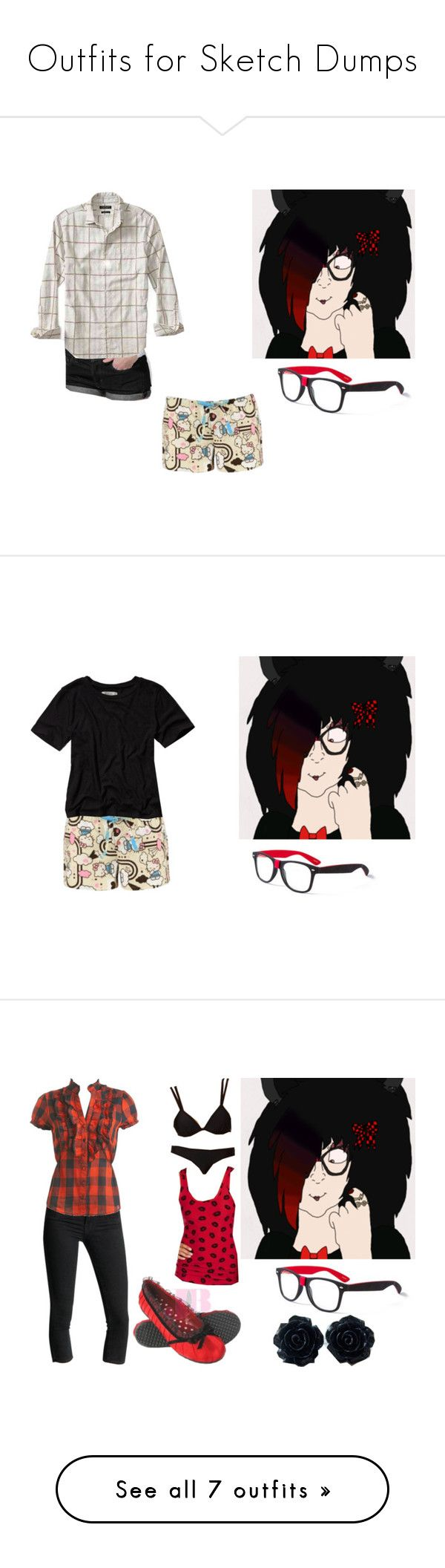 """Outfits for Sketch Dumps"" by brainyxbat ❤ liked on Polyvore featuring claire's, American Apparel, Banana Republic, Abercrombie & Fitch, J Brand, Wet Seal, Disney, Converse, ASOS and GUESS"