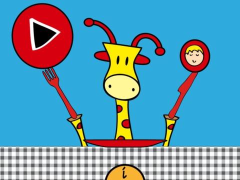 """JOP GAAT ETEN - Met """"Jop gaat eten"""" krijgt je kind de mogelijkheid om Jop de Giraf te helpen met alle stappen rondom het avondeten zoals; boodschappen doen, boodschappen opruimen, koken, tafelkleed op de tafel leggen, tafeldekken, eten opscheppen, eten, het dessert serveren en de afwas doen. Dit alles gebeurt in een leuke en interactieve manier!"""