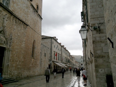 The Stradun the main street.  The stones are so smooth that they are slippery when wet.