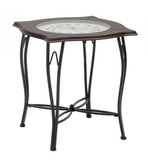 METAL_WOODEN  COFFEE TABLE 'CLOCK' 56Χ56Χ60