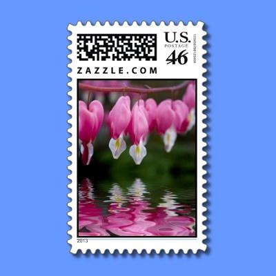 bleeding heart flower stamp