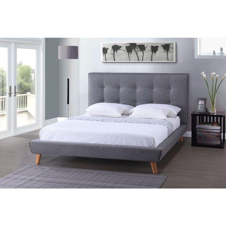 baxton studio jonesy midcentury grey linen upholstered platform bed by baxton studio king size