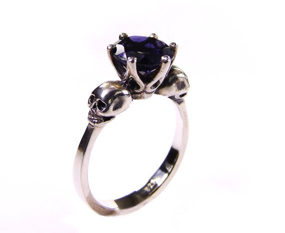 Skull Engagement Ring Sapphire Blue Tanzanite by KipkalinkaJewels