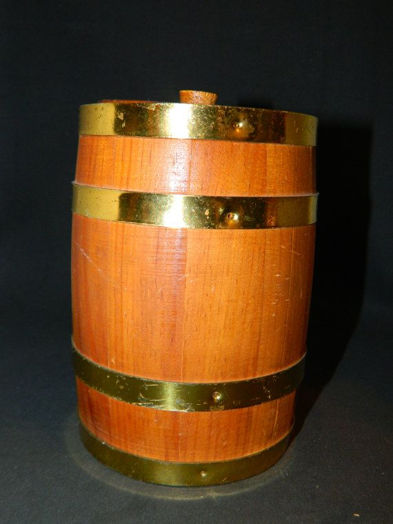 Small Wooden Barrel w/ Lid & Brass Hoops Around the by ZiggyzAttic