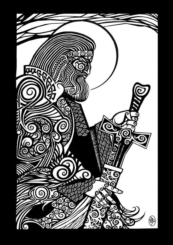 Illustration of Perun, the Slavic god of thunder, by Ukrainian artist Alexey Bakhtiozin.
