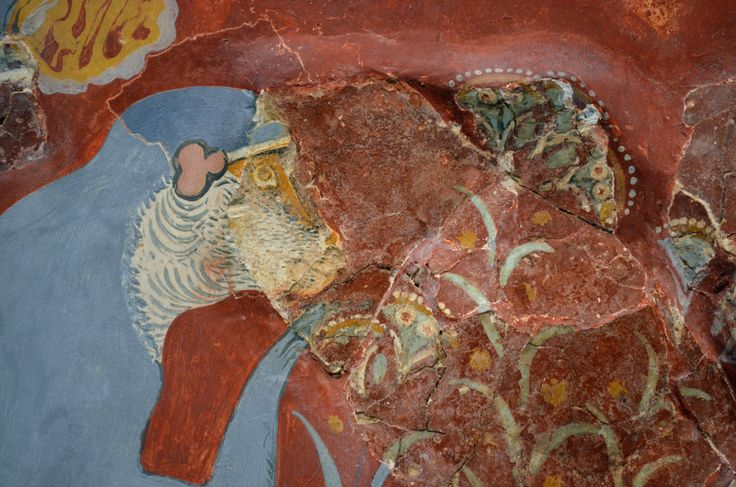 The panels depict rocky and riverside landscapes, rivulets, clumps of papyrus, reeds and other plants, as well as blue monkeys and birds.....Knossos, Neopalatial period (1600-1500 BC)