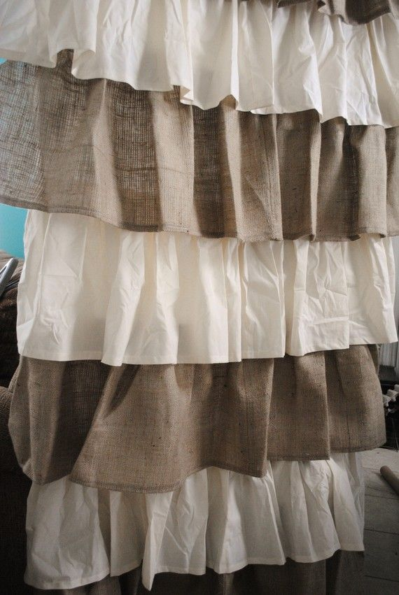 Burlap and cotton ruffle curtains. Just ordered these and dying for them to come in.