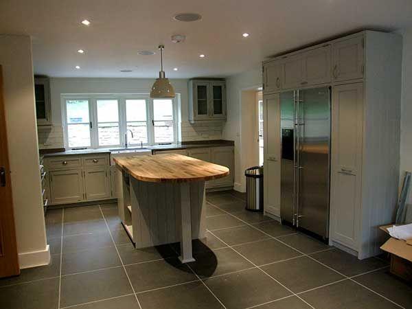 Painted Shaker Kitchen With Island Unit And American Fridge Freezer 600 450 Pixels