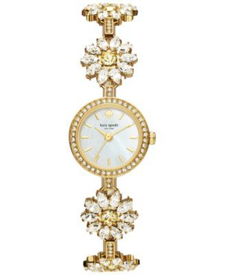 kate spade new york Women's Gold-Tone Stainless Steel and Crystal Daisy Bracelet Watch 20mm KSW1083