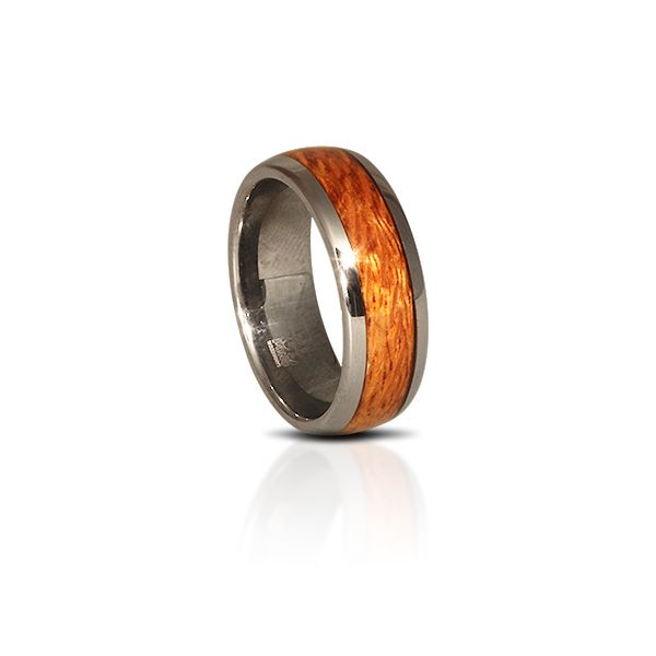 Hawaiian Silky Oak inlayed in a tungsten ring…simply amazing