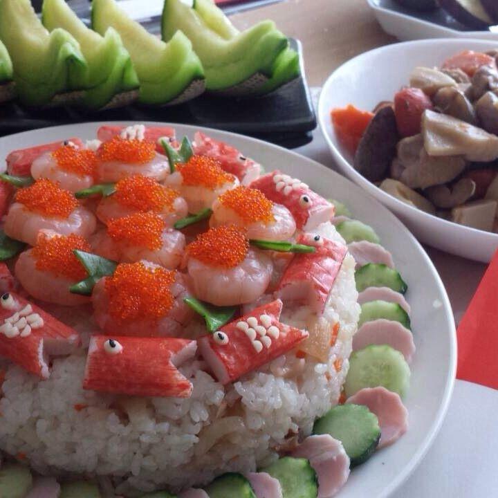 初節句に作った鯉のぼりちらし寿司‼︎♡ 今更ですが…m(._.)m 我ながら力作♡