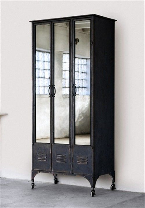 Steel cabinet with mirrored doors
