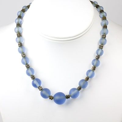 Art Deco Vintage Jewelry - Frosted Blue Bead French Art Deco Necklace