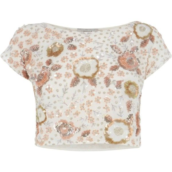 Coast Adaria Embellished Top, Blush ($155) ❤ liked on Polyvore featuring tops, floral print crop top, sequin crop top, sparkly crop top, white sequin top and sparkly tops