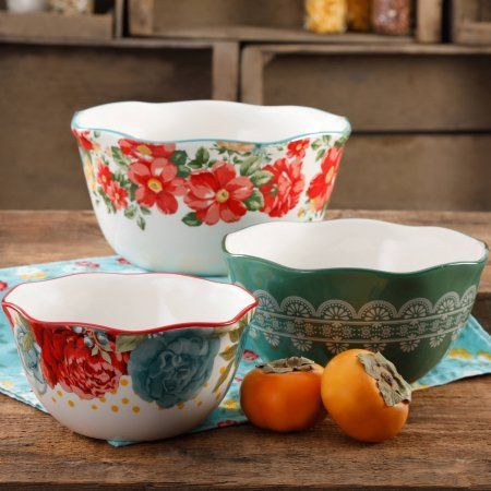 Free 2-day shipping on qualified orders over $35. Buy The Pioneer Woman Vintage Floral 3-Piece Nesting Bowl Set at Walmart.com
