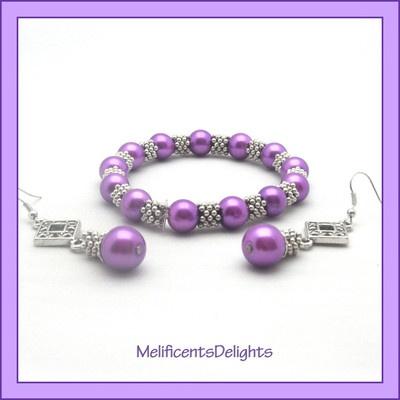 purple pearlised beaded bracelet & earring set - gift boxed - tibetan style  £5.99 free shipping