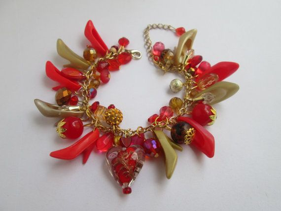 Barbie Shoe  Bracelet / Red  and Gold Shoes on by ZoesBarbieShoes