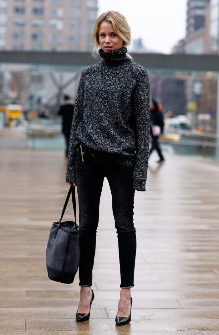 Elin Kling wears a cozy turtleneck with her hair tucked in. // #fashion #style #streetstyle