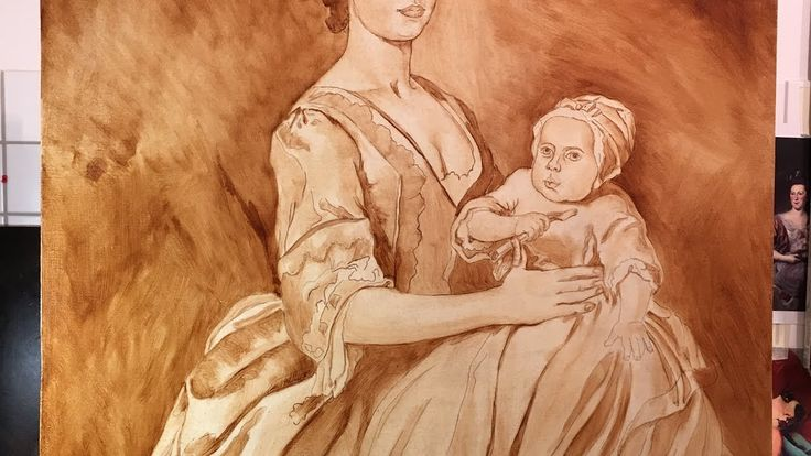 Classical painting / Umber underlayer / Portrait of Mother with child