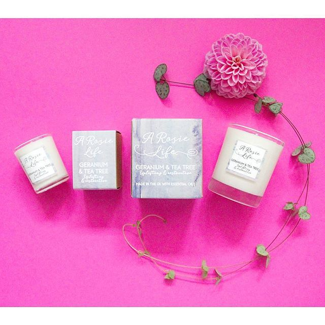 A Rosie Life Geranium & Tea Tree Candles.