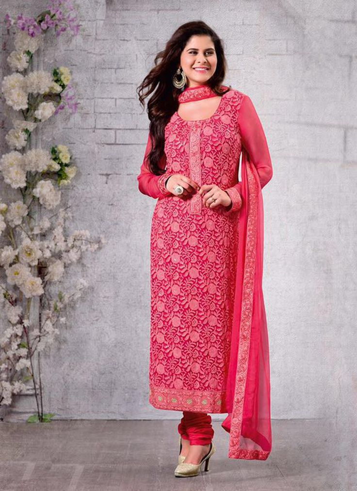 red-chiffon-party-wear-embroidered-work-churidar-suit-
