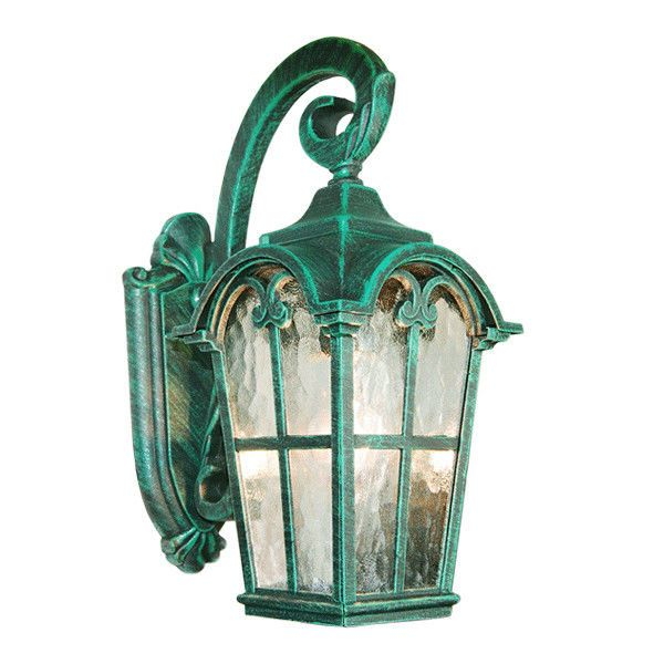 Verde Green Cast Aluminum Outdoor Wall Light Lantern W