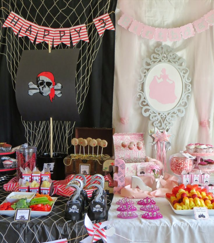 Once Upon a Time and a Yo Ho Ho! Princess and Pirate Birthday Party: great ideas for party food, decorations, and more!