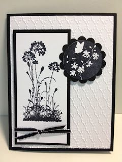 handmade card from My Creative Corner!: June 2013 ... black and white ... Serene Silhouettes ... Fancy Fan embossing folder texture ... tall and narrow focal point layer ... black scalloped circle embossed in white  ... great card!! ... Stampin' Up!