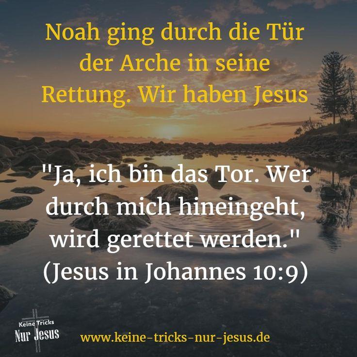 """Noah und seine Familie wurden gerettet, weil sie durch die enge Tür der Arche in die Sicherheit gingen. Wir werden gerettet, weil wir durch die sichere """"Tür"""" Jesus zu Gott gehen. Wir werden durch unseren Glauben an Jesus als unserem Retter für immer mit Gott versöhnt. """"Ja, ich bin das Tor. Wer durch mich hineingeht, wird gerettet werden."""" (Jesus in Johannes 10:9)"""