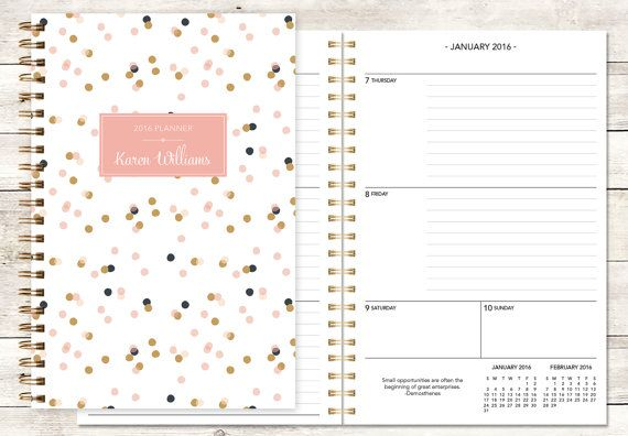 planner 2016 12 month calendar  custom weekly student by posypaper