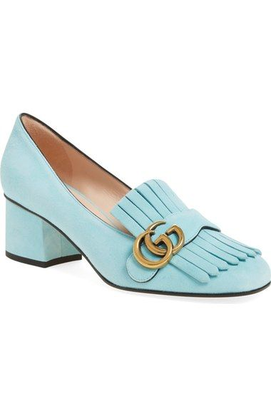 """Gucci 'Marmont Pump'   $750.00 Item #5033203  ☆☆☆☆☆ 1 Review   Kiltie fringe adds preppy elegance to a sleek, rounded square-toe pump set on a low chunky heel. Cut from smooth leather or boldly hued suede and topped with Gucci's signature gleaming goldtone interlocked G's, this go-to style choice will instantly amp up any outfit. 2"""" heel (size 38.5). Leather upper, lining and sole. By Gucci; made in Italy. Salon Shoes."""