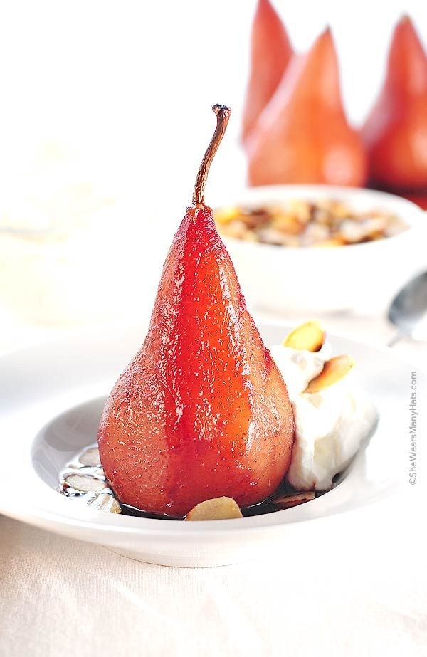 Poached Pears with Pinot | http://shewearsmanyhats.com/poached-pears-pinot/