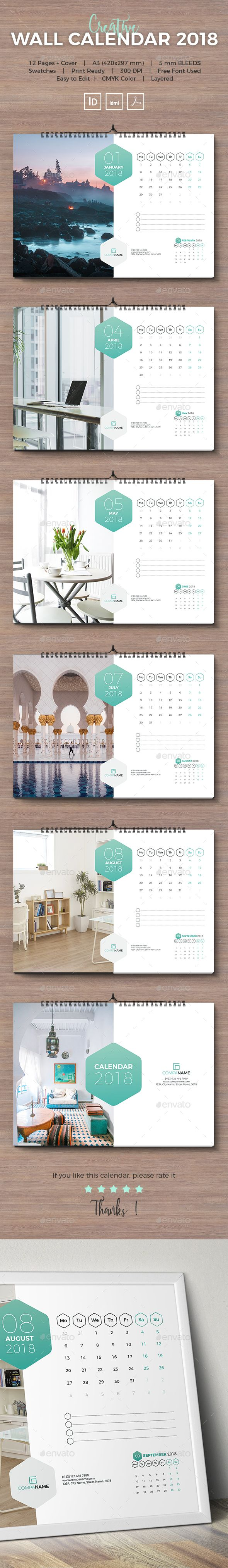 2018 Wall Landscape Calendar Template InDesign INDD