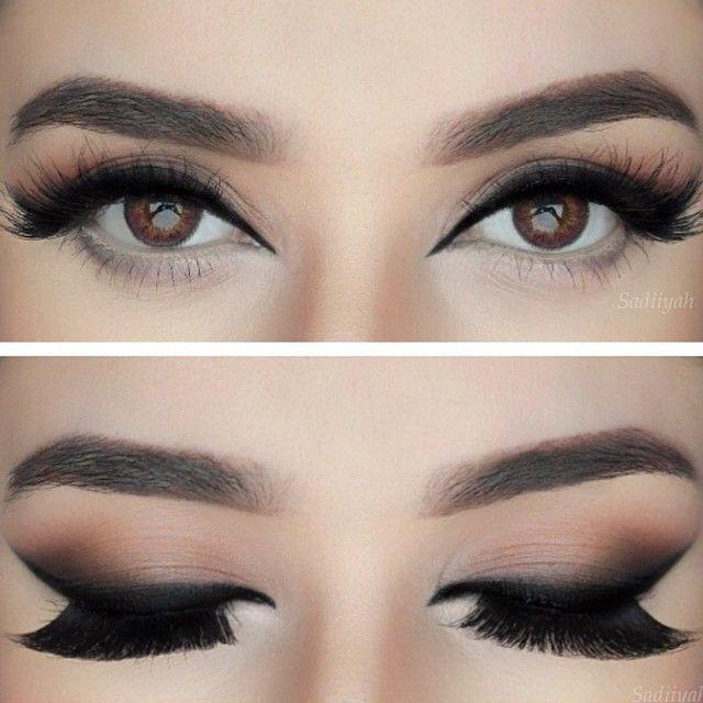 slightly smoked black #winged #eyeliner top-heavy, neutral cat eye #makeup @sadiiyah
