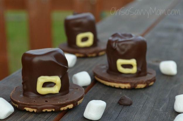 Easy Thanksgiving Pilgrim's Hat Cookie Treat - Oh So Savvy Mom
