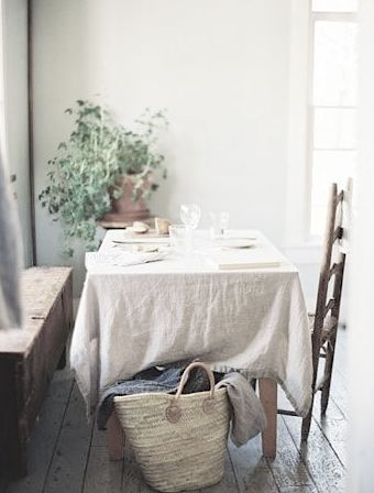 Linen tablecloth straw market basket country table