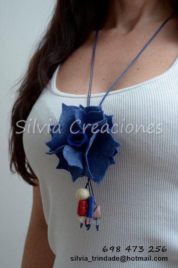 Felt Necklace / Flowers Felt / Jewelry Woman / por SilviaCreaciones