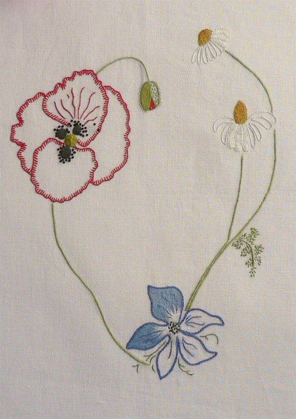 Field flowers alphabet - V Embroidery Keka❤❤❤
