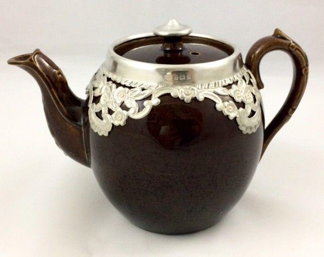 Art Nouveau Treacle Glazed Teapot with Hallmarked Silver Collar - Circa 1905 #ArtNouveau #TeaPotsorTeapot