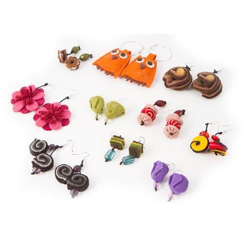 SET 10 ORECCHINI IN LANA COTTA  -  Set 10 orecchini in lana cotta - colori assortiti.