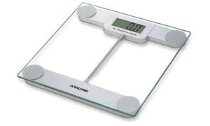Digital scale with tempered-glass platform uses high-precision strain-gauge sensors and flashes your weight across a large LCD display