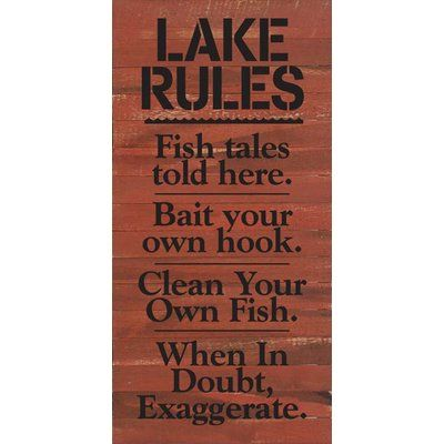 Artistic Reflections 'Lake Rules. Fish Tales Told Here…' Textual Art on Cherry Wood