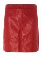 Womens Red Faux Leather Mini Skirt- Red