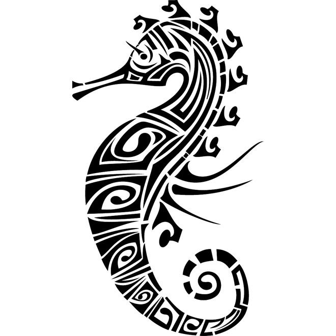 Seahorse Tribal Image Free Vector
