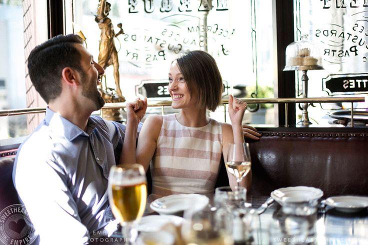 Restaurant engagement photos at La Societe, Yorkville. Toronto wedding photography. #sweetheartempirephotography