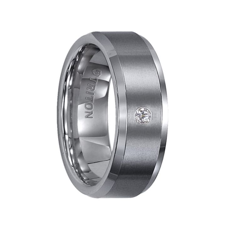 Triton Rings - PHILLIP Beveled Tungsten Carbide Wedding Band with Satin Finish and Solitaire Diamond Setting - 8 mm