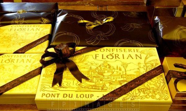 Candied chestnuts gift boxes in a Florian store in Nice, France