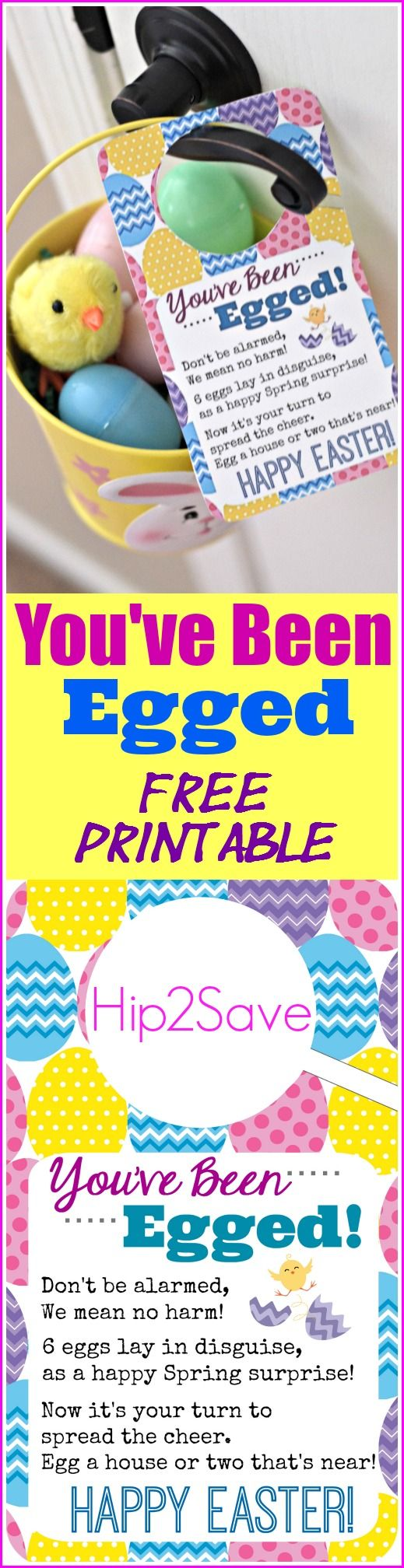 You've Been Egged (Free Printable Easter Idea) brought to you by @hip2save. Easy and fun way to spread Easter cheer to your friends and neighbors!